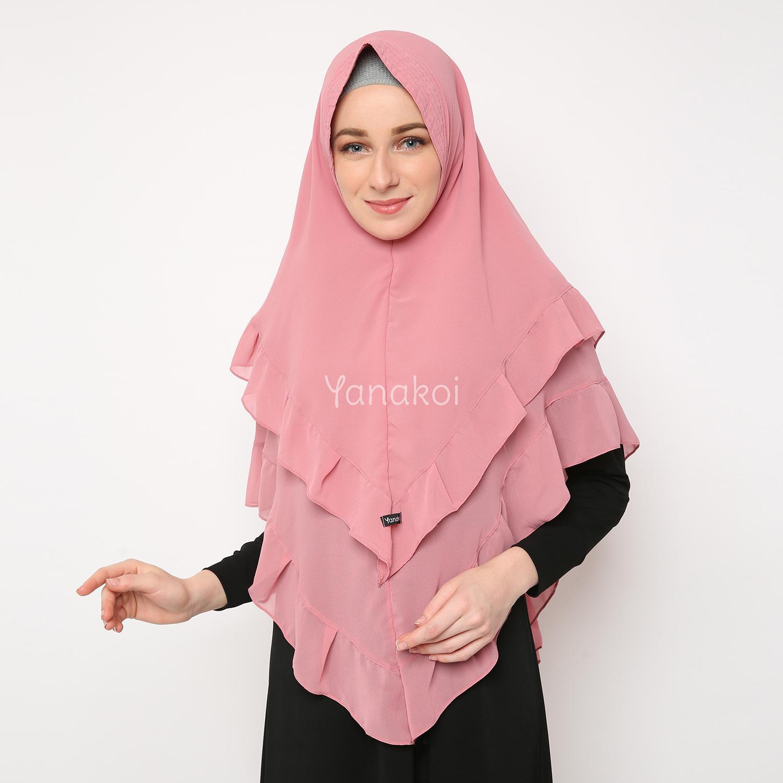 Yanakoi Hijab - Jilbab Khimar Zanetta Warna Pink Dusty