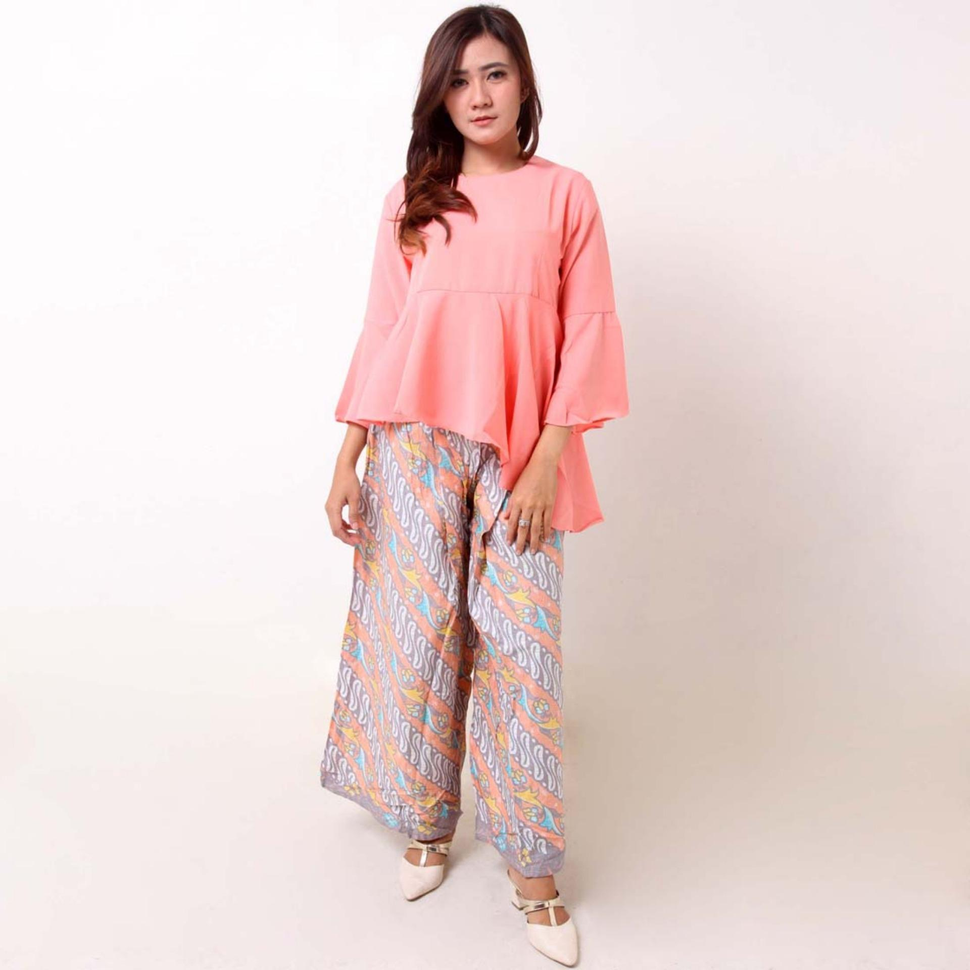 Batik Distro BA9074 Blus Celana Kulot Wanita - Orange