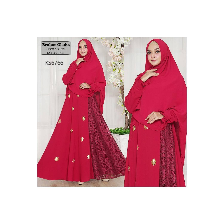 Busana muslimah/jubah//gamis/Baju Muslim brukat gladis merah terbaik