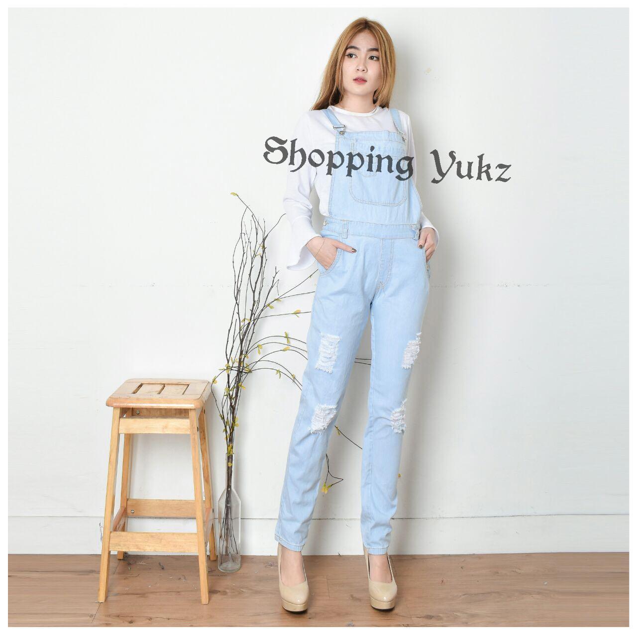 Shopping Yukz Overall Jumpsuit Jeans Denim Hijab Wanita EMNA (Tanpa Inner+Jilbab)/Baju Kodok Jeans Muslim /Jumpsuit Jeans Hijab/Ripped Jeans/Jumpsuit Denim Wanita/Jumpsuit Murah/Jumpsuit Muslim/Jumpsuit Panjang/Jumpsuit Hijab/Jumsuit Wanita/Jumsuit Denim