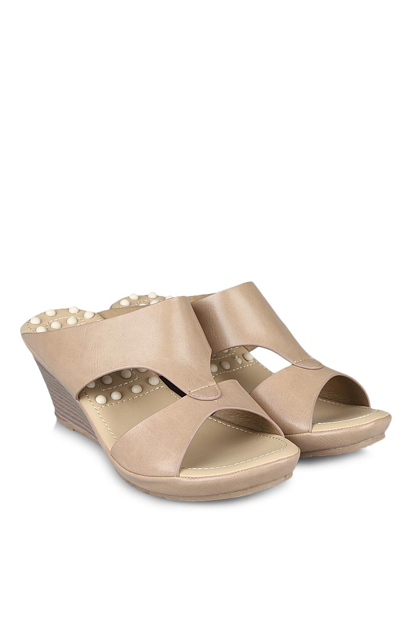 Bata Sandal Wedges Fashion Wanita Ladies Calista Taupe