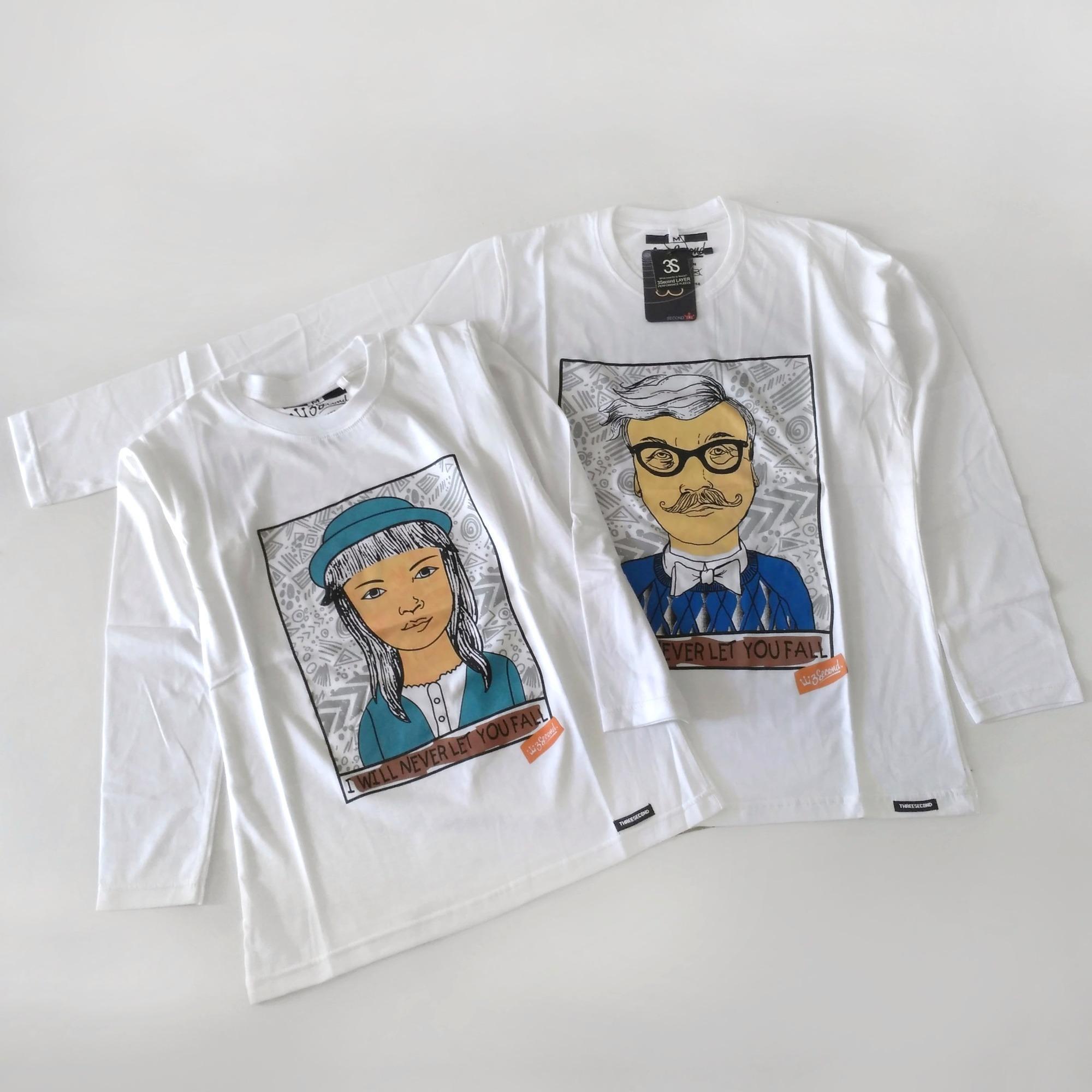 Kaos Couple 3Second Lengan Panjang Warna Putih/ Baju Couple Pasangan/ Pria