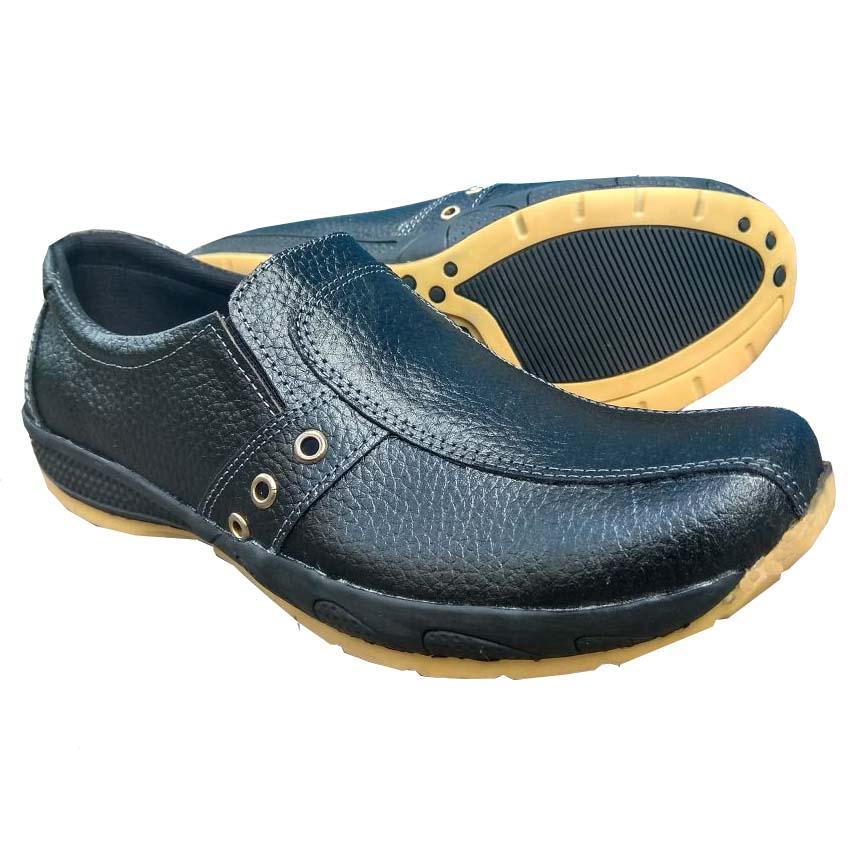 QiqiAji Sepatu Pria 100% Kulit Asli Casual Anti Licin - Hitam