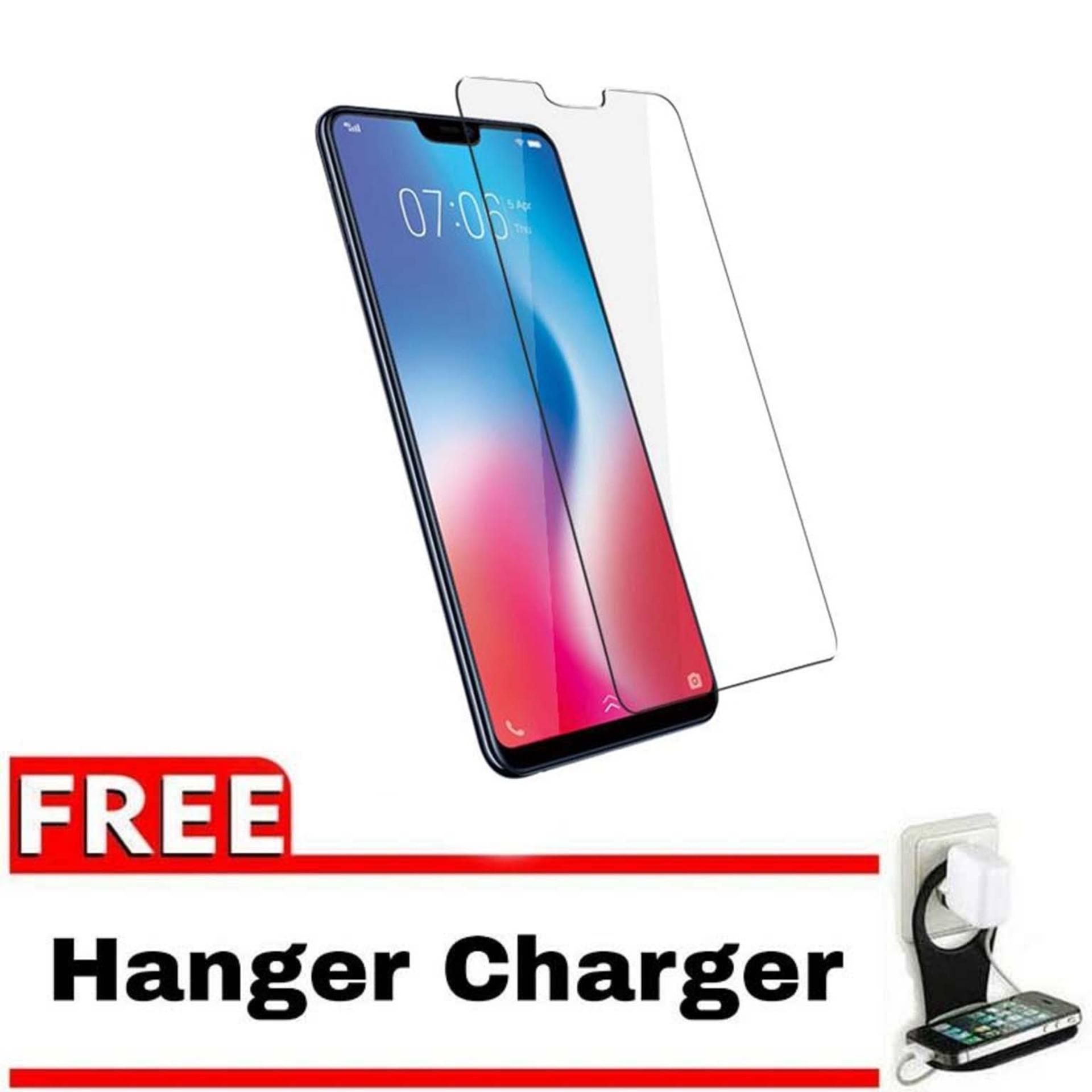 Vn Vivo V9 Tempered Glass 9H Screen Protector 0.32mm + Gratis Free Hanger Charger Smartphone
