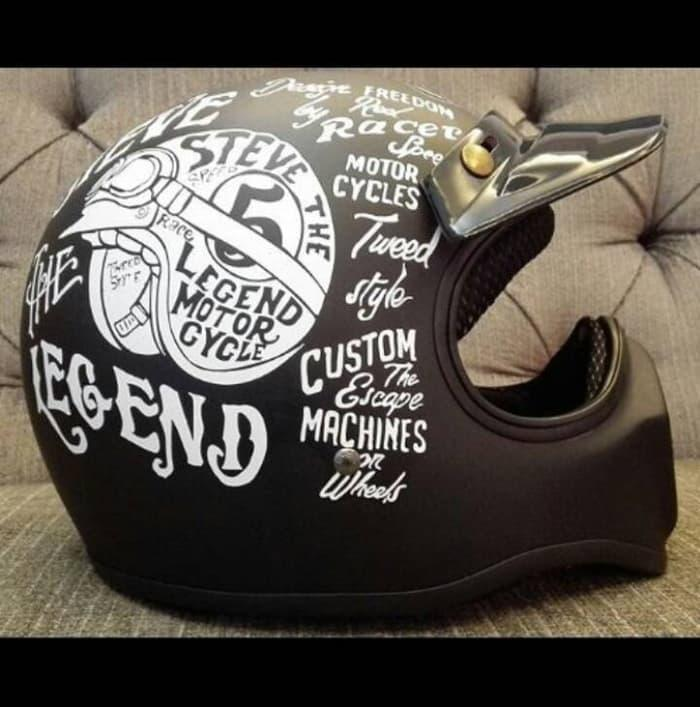 Helm Cakil Hitam dop HBC Steve Legend    helm kyt / helm bogo / helm full face / helm ink / helm sepeda /helm motor/helm nhk/helm retro/helm anak/helm gm