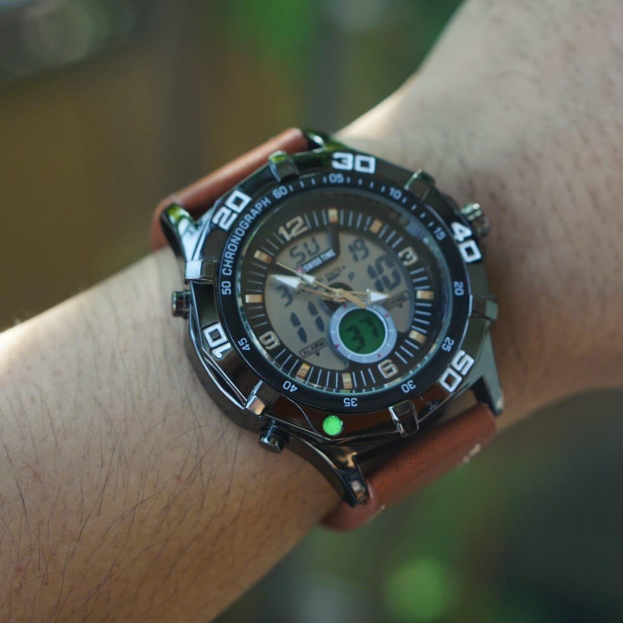 Swiss time - Dual Time- Jam Tangan Pria - tali kulit ST14213 - Grosir Jam Tangan Indonesia