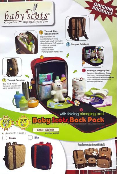 tas perlengkapan bayi ransel backpack baby bag scots scott gemblok ORI