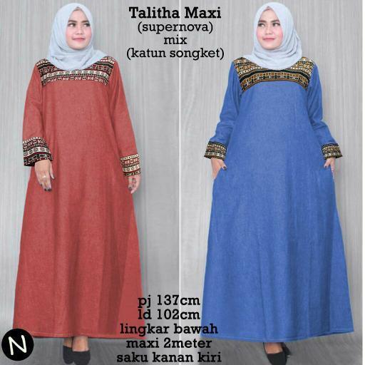 Promo Hari Ini Cn 6855 Talitha Maxi Dress Terusan Batik Songket Etnik Gamis Syari Hijab Murah Modis