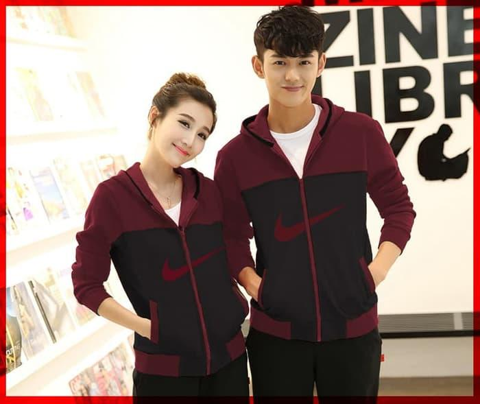 [Cp Nike HR CL] Jaket Couple Nike Babyterry Hitam+Maroon