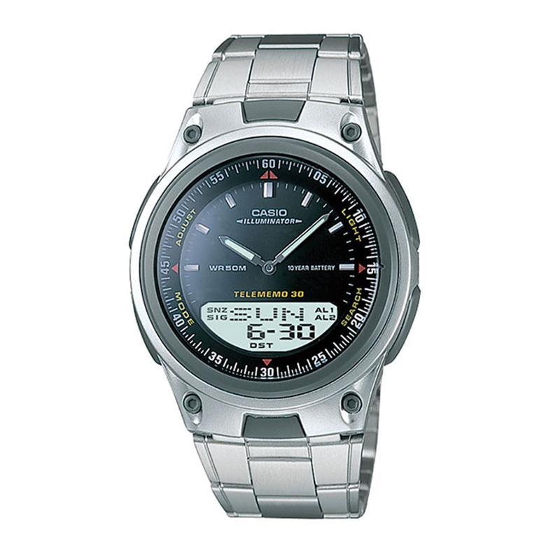 CASIO ORIGINAL Digital Analog AW-80D-1AV - Jam Tangan Pria - Abu-abu-Hitam - Stainless Steel- Starwatch AW-80D / AW-80D-1A / AW80D / AW-80D-1AV / AW 80D 1A