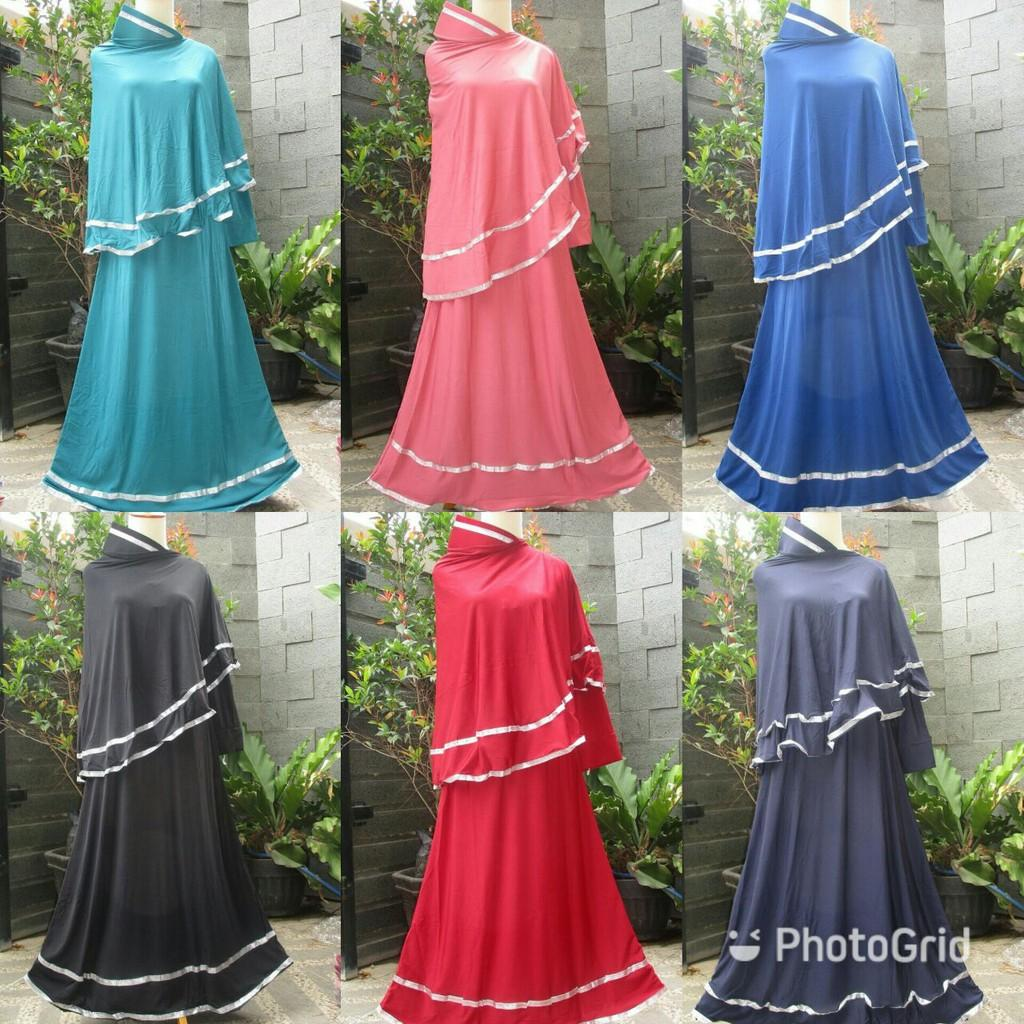 Buy Sell Cheapest Sale Gamis Jersey Best Quality Product Deals Big Queen Baju Muslim Bergo Polos Set Kerudung Syarii