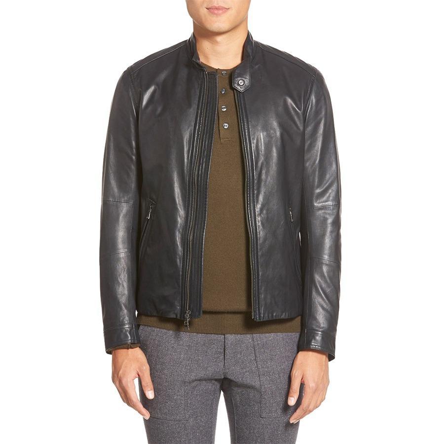 Jaket Jas - Leather Jacket Black Biker Design Trendy - Hitam