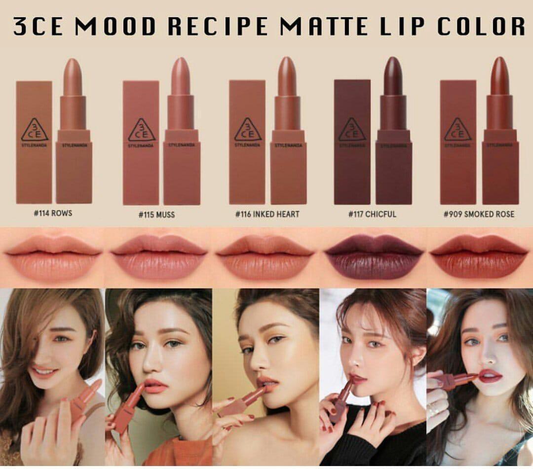 Jual Makeup 3ce Terbaru Terlengkap Lipstick Matte Mood Recipe Lip Color Mini Kit Box Coklat Lipstik Gift Set Kosmetik Bibir