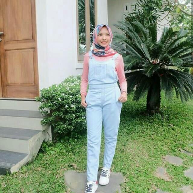 Baju Overall Jeans Tidak Sobek Sobek Tanpa Dalaman - Celana Kodok Baju Kodok Setelan Wanita Muslimah Celana Panjang Casual Jumpsuit Muslim Jumpsuit Murah