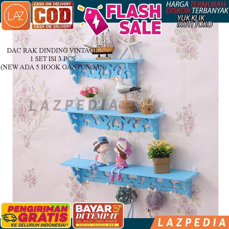 Laz COD -  [BIRU] DAC Rak Dinding Vintage 1 Set Isi 3 PCS / Rak Dekorasi Untuk Dinding Rumah / Rak Dinding Hiasan Vintage (New Ada 5 Hook Gantungan) - Lazpedia A772
