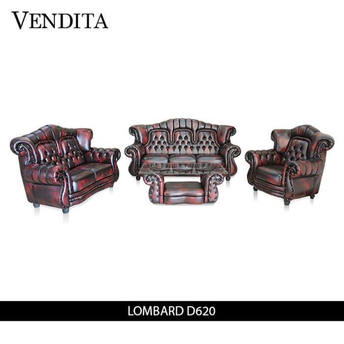 Sofa Set Minimalis Vendita Lombard Mini D620 + Meja - Classic Red - Khusus Jabodetabek