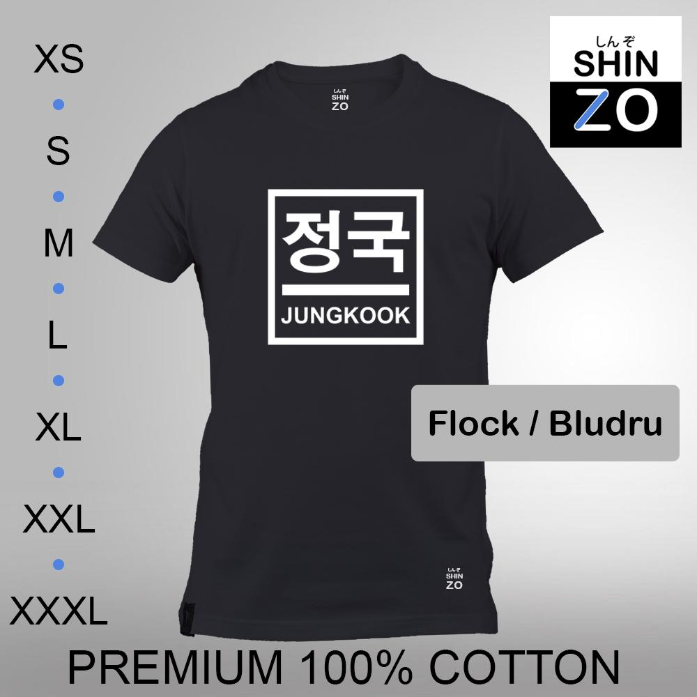 Shinzo Design - Kaos Oblong Distro T Shirt Tee Casual Fashion Atasan Cloth Anime Custom - Premium Cotton Combed 30s Ring Spun Export Quality - Pria - BTS Bangtan Sonyeondan Jeon Jung Kook - Black Hitam