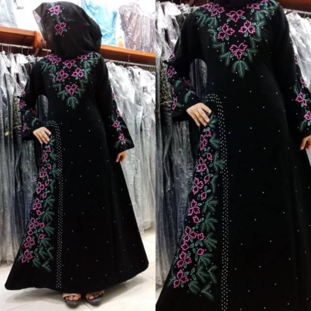 Exclusive Nafisah Abaya Gamis Jubah Syari Dress Arab Hitam Bordir Murah Wanita Fashion (l)