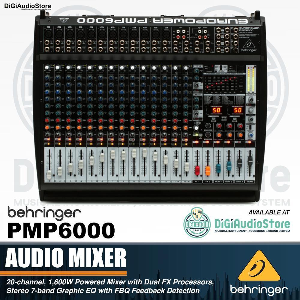 Behringer PMP6000 20 Channel 1600 Watt Powered Mixer Audio - Power Mixer Amplifier Speaker Pasif