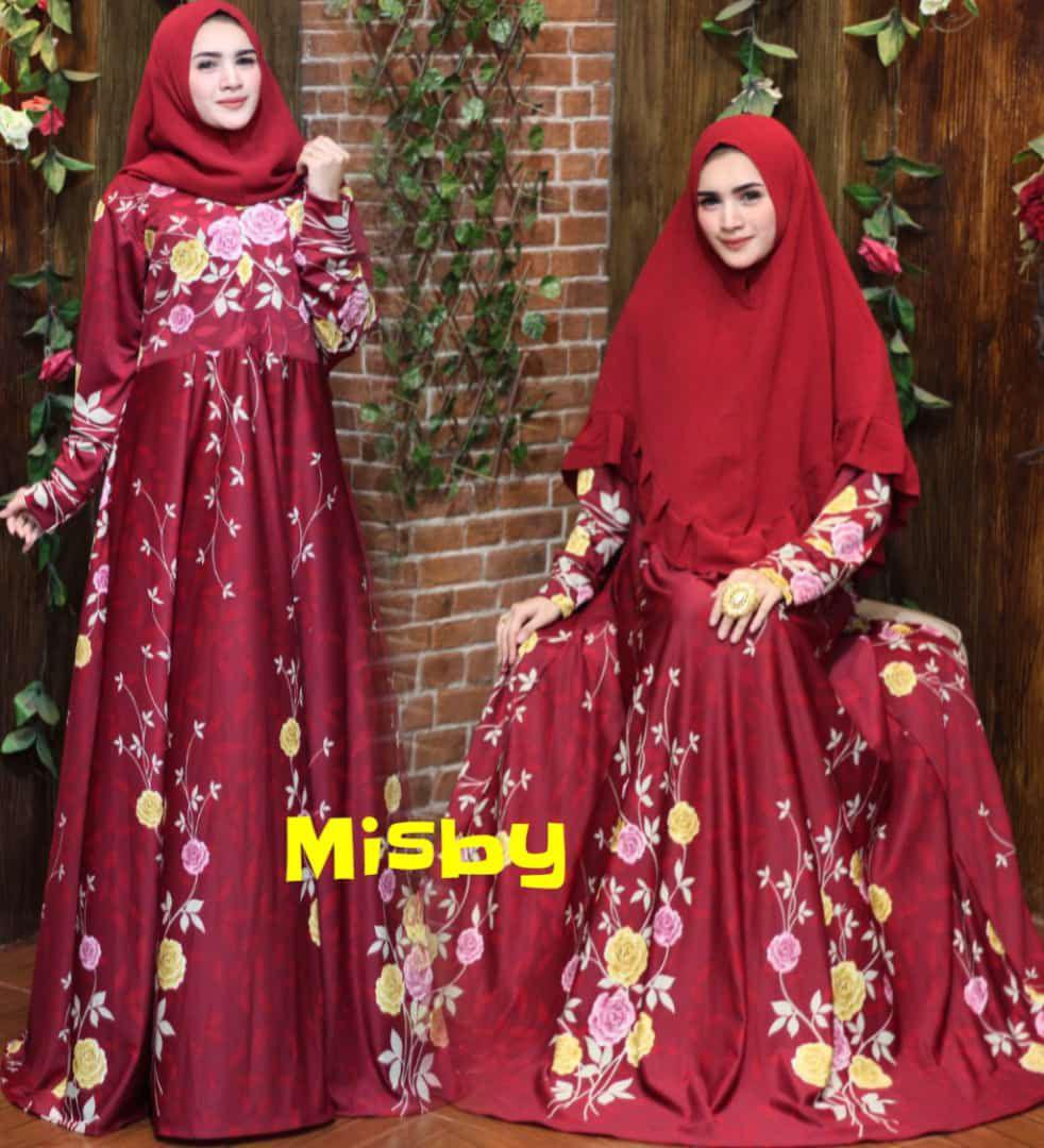 Nurulcollection-Baju dress gaun muslim murah/gamis syari terbaru/gamis melar motif size XL-klok 4m