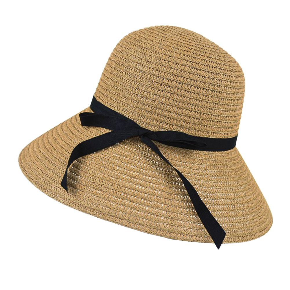 Topi Topi Matahari Pantai Jerami Disket Elegan Bohemia Dril-Internasional