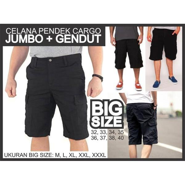 Diskon Terlaris Jual Celana Pendek Cargo Hitam Super Gendut Gemuk Jumbo Big Size Kargo Murah Promo