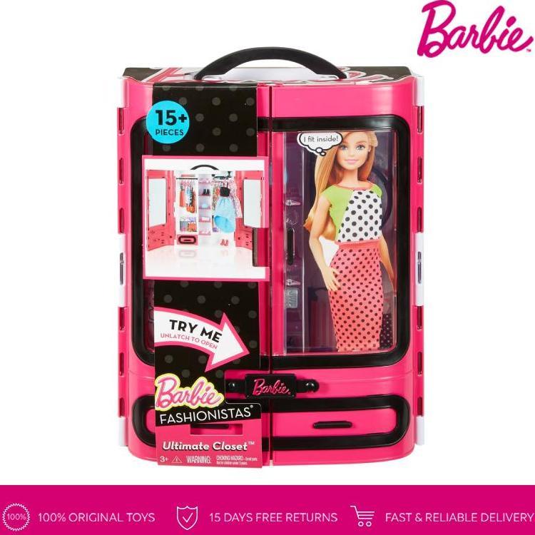 Barbie Fashionistas Ultimate Closet Lemari Baju Pink Boneka Permainan Toy Anak Perempuan