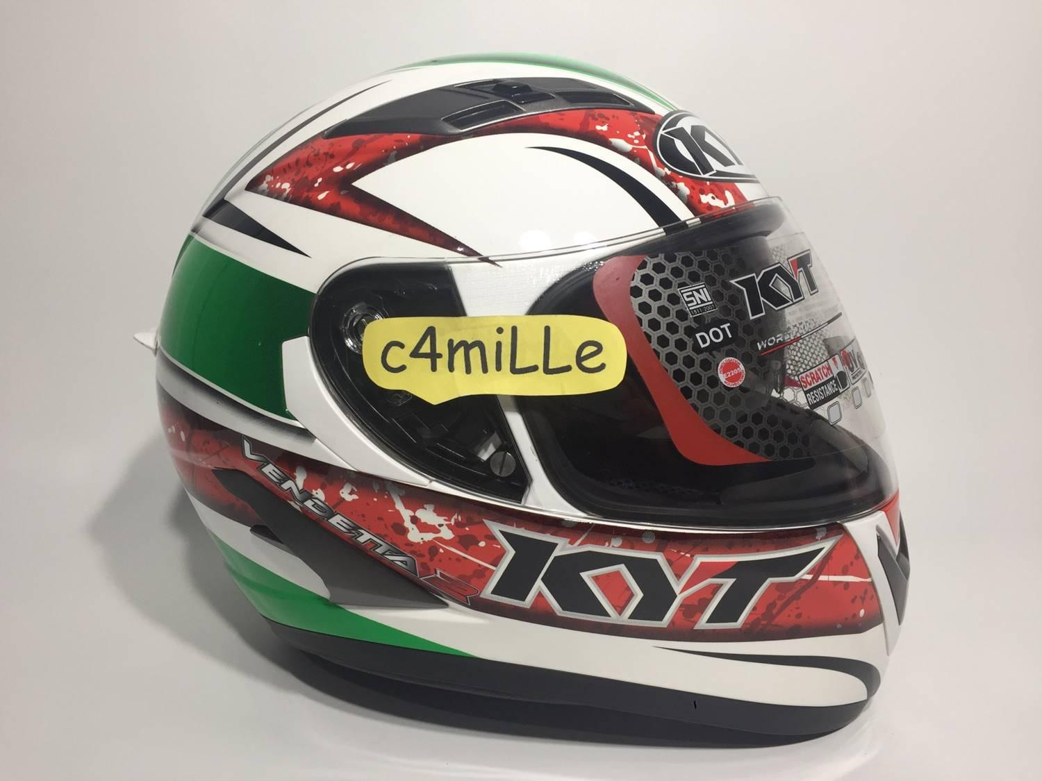 HELM KYT VENDETTA 2 #1 WHITE RED GREEN DOUBLE VISOR FULL FACE
