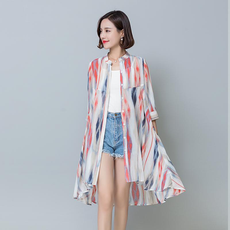 Model Setengah Panjang Sifon Kardigan Baju Pelindung Matahari Perempuan  2018 Musim Panas Model Baru Longgar Model 6381beea8f