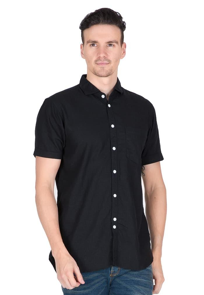 Tendencies - Kemeja pendek - CONTRAST BUTTON BLACK - Hitam, S - zaKPKB