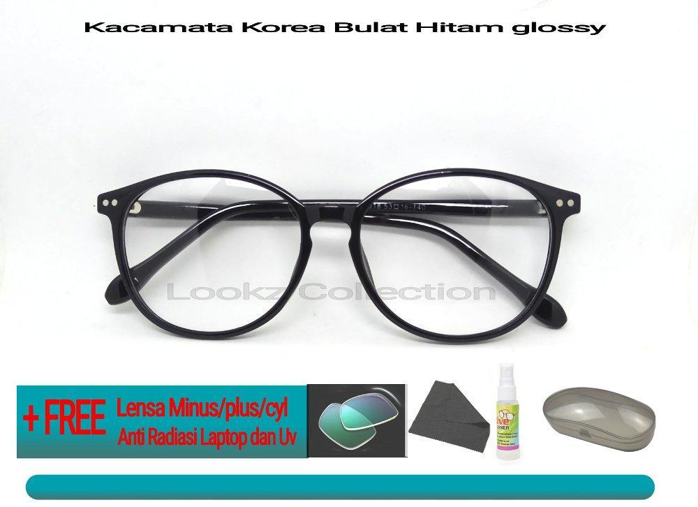 kacamata bulat minus baca korea kacamata fashion pria dan wanita GRATIS LENSA MINUS PLUS CYL ANTI RADIASI DAN UV