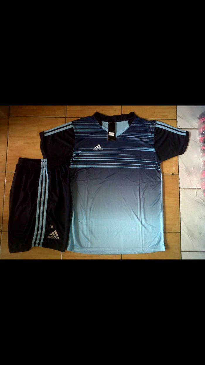 Best Top Seller!! Setelan Adidas Printing Garis Biru - ready stock