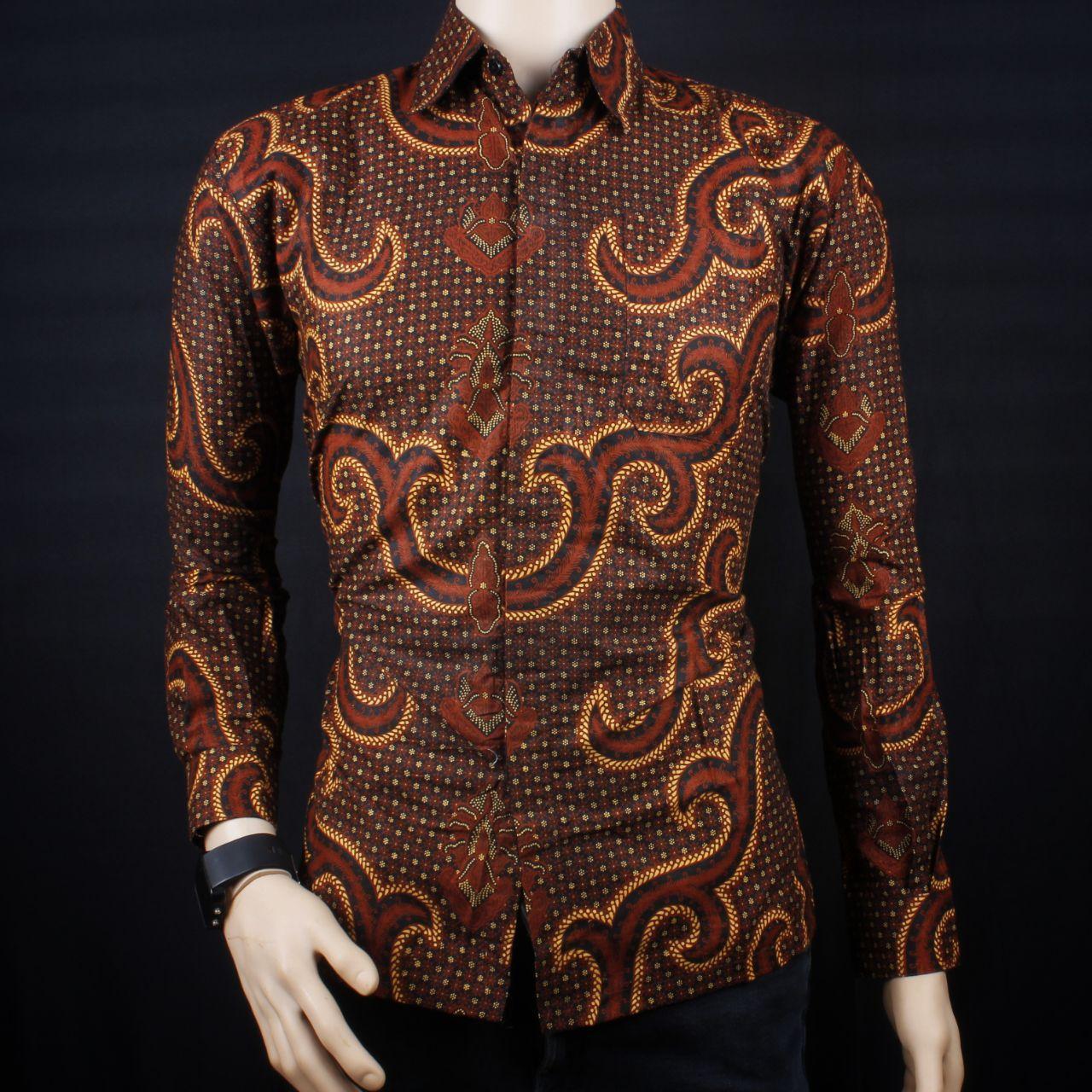 Baju Batik Pria Lengan Panjang / Kemeja Batik Pria Lengan Panjang Casual Modern / Azka Batik