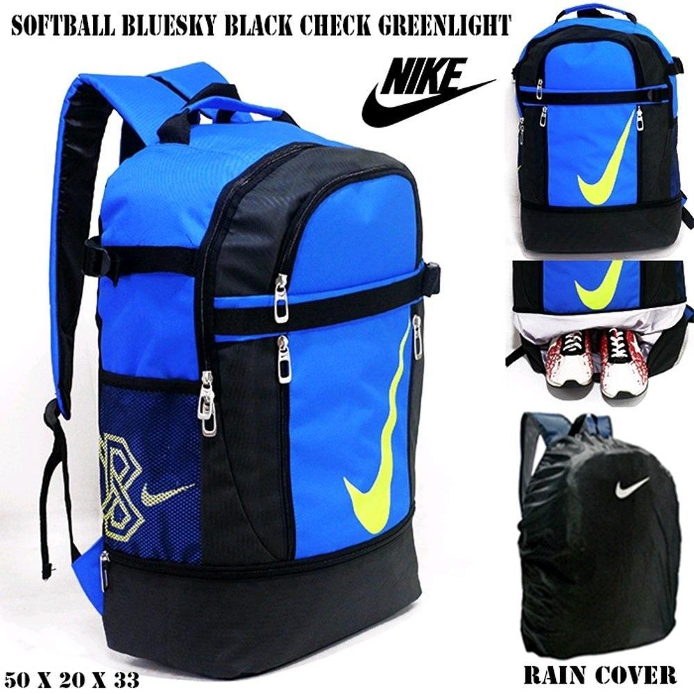 Tas ransel nike softball bluesky black check greenlight | free rain cover