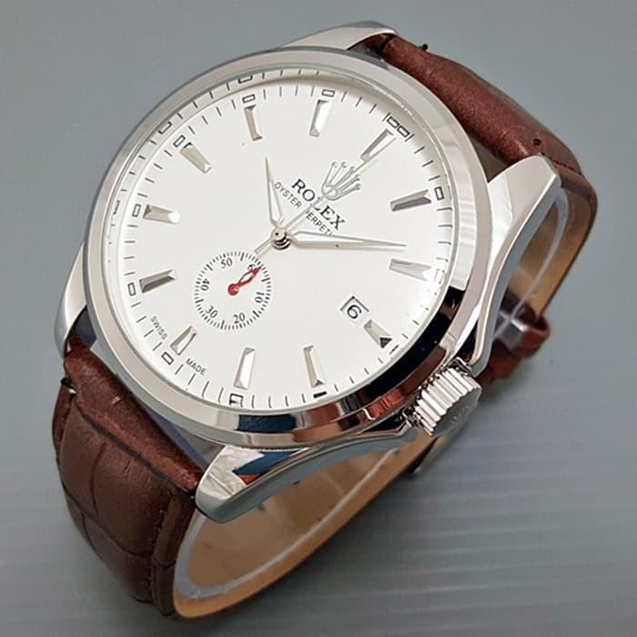 Jam tangan pria / Jam tangan pria original / Jam tangan pria murah / Jam tangan pria terbaru / Jam tangan pria swiss army / Jam tangan pria terbaik / Jam Tangan Pria / Cowok Rolex Automatic Big Size Leather Brown Silver DISKON MURAH!!!