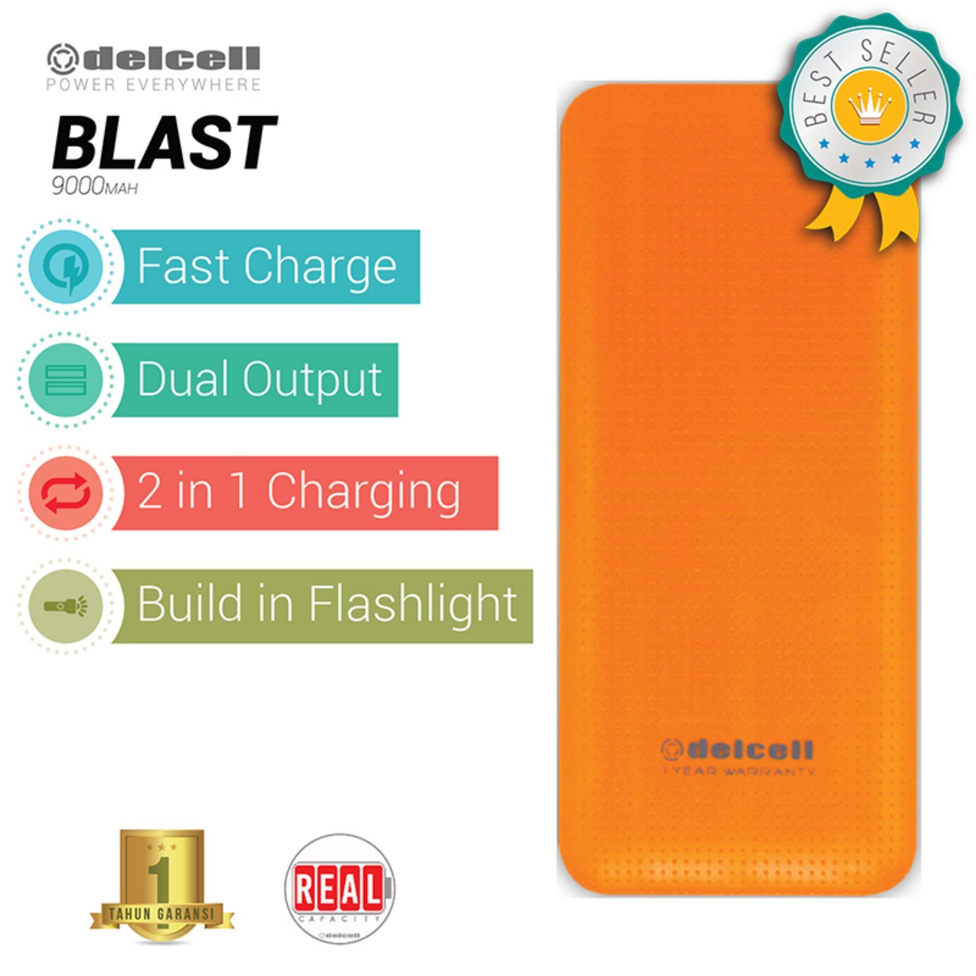 Delcell 9000mAh Powerbank BLAST Real Capacity Fast Charging Dual Output Garansi Resmi 1 Tahun Power Bank