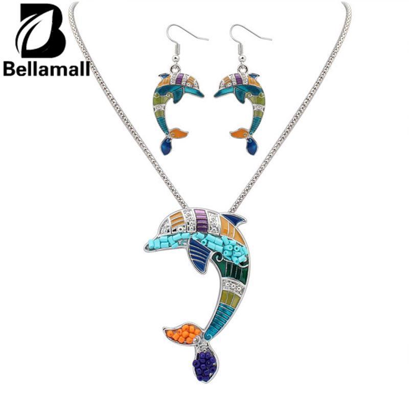 Bellamall: Dolphin Anting Kalung Lucu Perhiasan Set Lovely Hewan Aksesoris Menarik-Intl