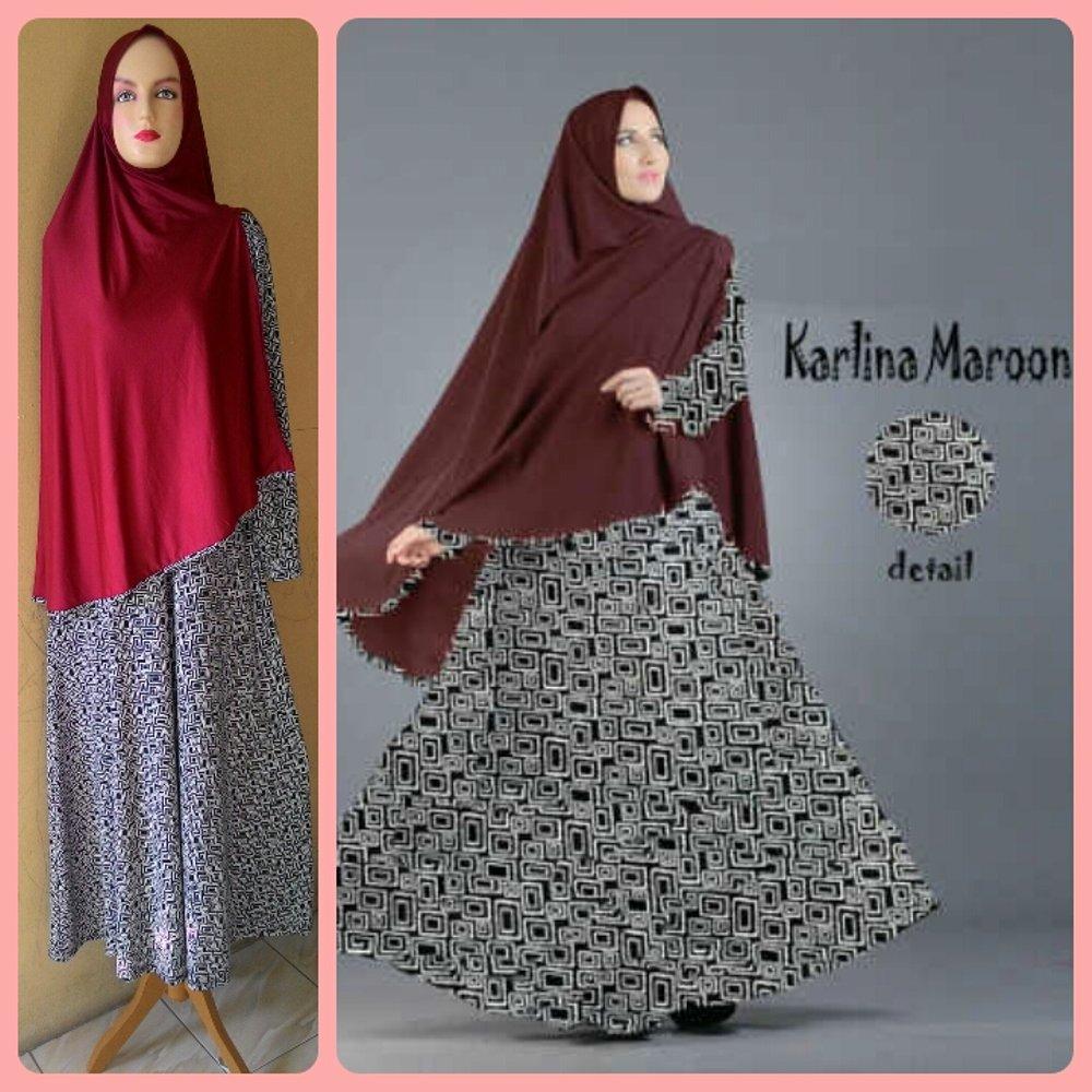 Gamis Syari Murah Karlina Marun (cantik,terbaru,modis) di lapak Raja Busana Muslim rajabusanamuslim
