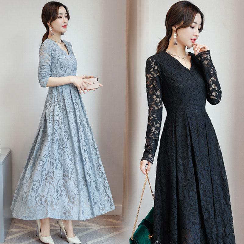 Gaun Musim Gugur Baru Gaun Korea Modis Gaya Perempuan (Hitam)