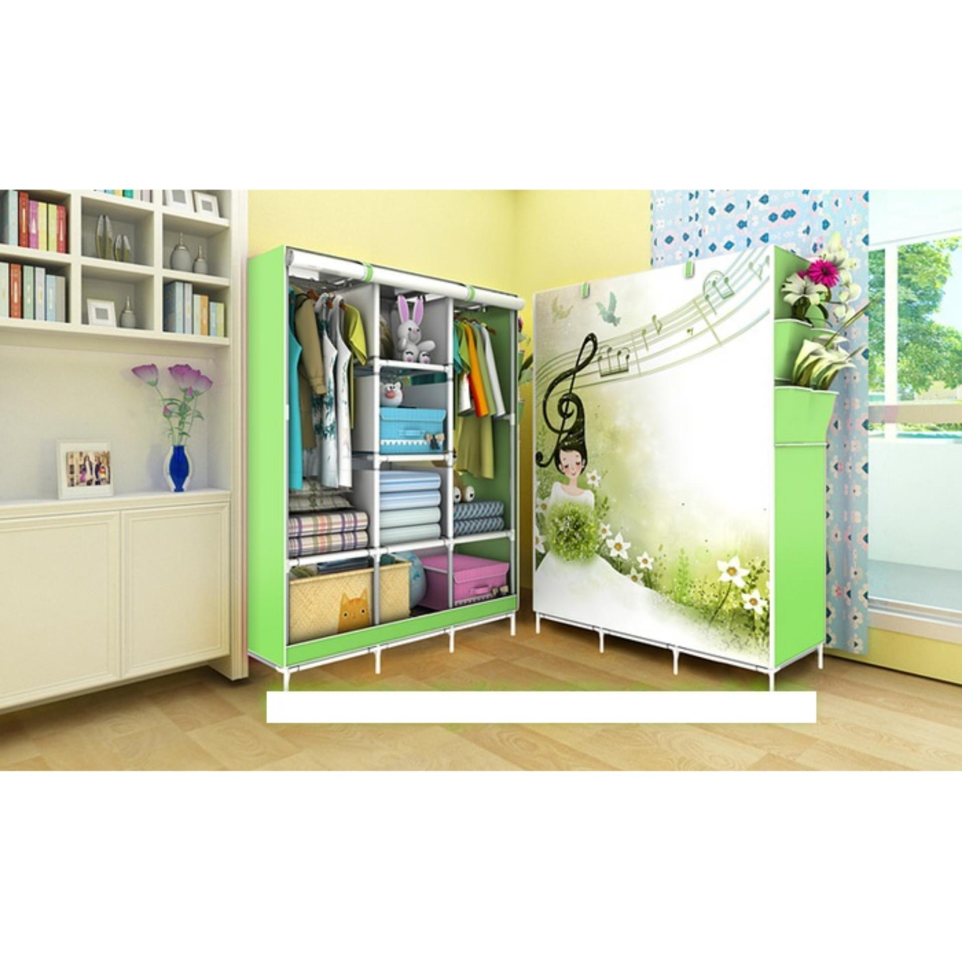 LARS - 08 MUSIC Lemari pakaian Multifunction Wardrobe with cover rak pakaian