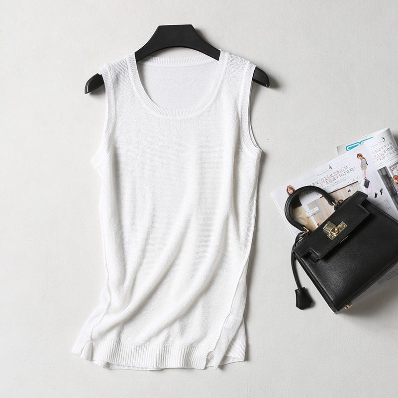 Nikmati Sub Permanen Sepatu Linen Perempuan Baju Dalaman Tangki Terbaik Yang Bisa Dipadukan Putih Rompi (