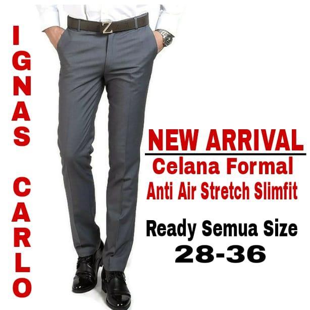 IGNAS CARLO- Celana  Panjang Formal Pria Valen  Slimfit Kantor Bahan Advance Waterproof Stretch Hitam