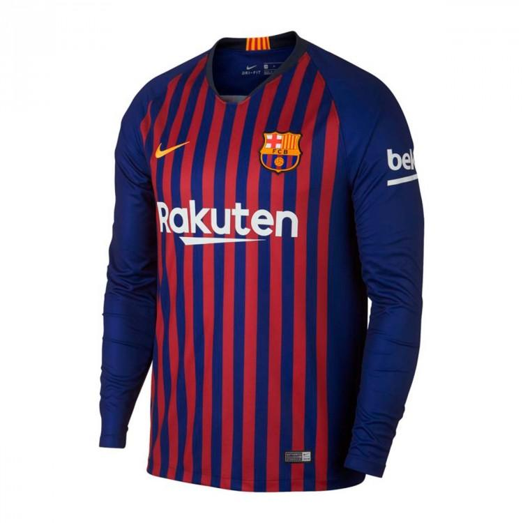 Toko Balonku Jersey bola long barcelona home musim 2018/19 replica baju bolabarca home jersey  indonesia baju olahraga barca kaos bola barcelona long sleeves best seller short sleeves