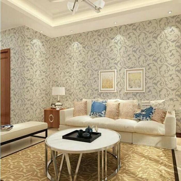 Wallpaper batik ulir cream 45cm x 10m
