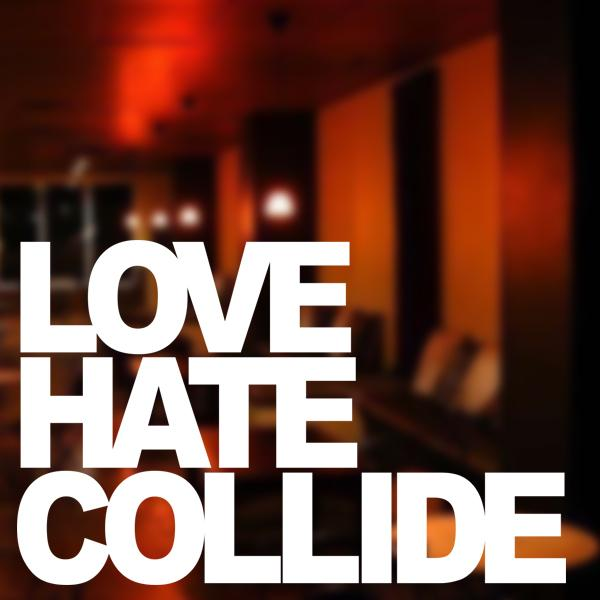 Stiker Kaca Dinding Love Hate Collide Sticker Kafe Resto Cafe Kamar