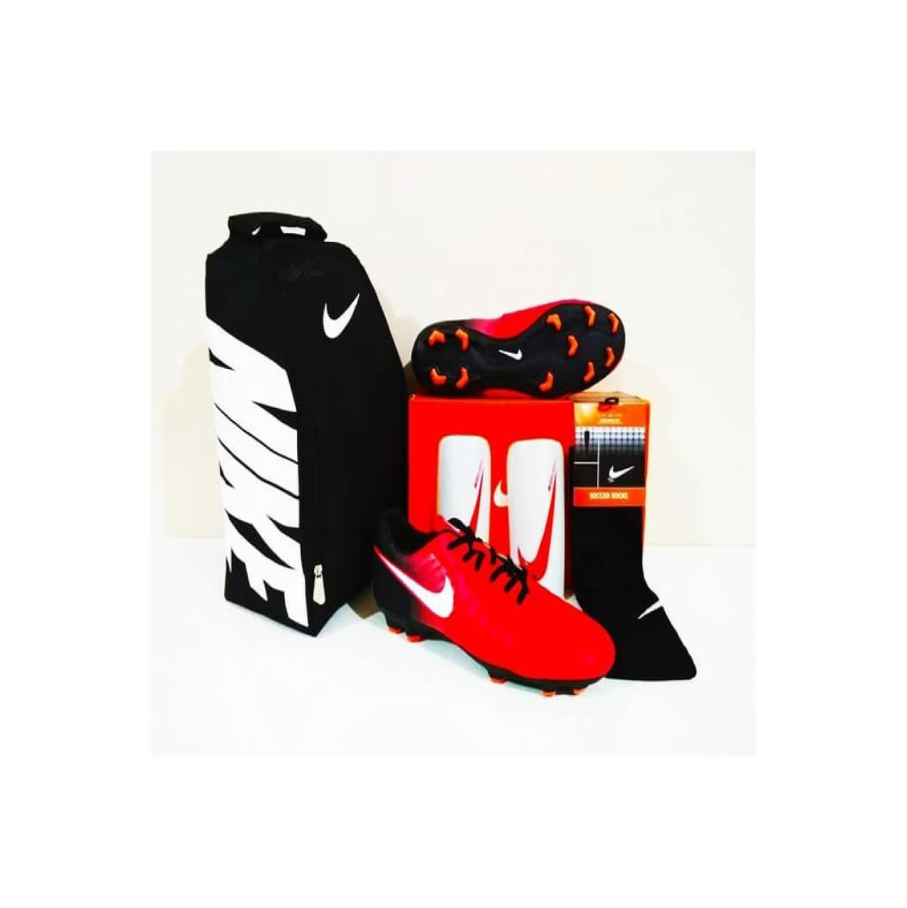 PAKET EKONOMIS Murah. Sepatu Bola Tiempo Legacy FG Red Black