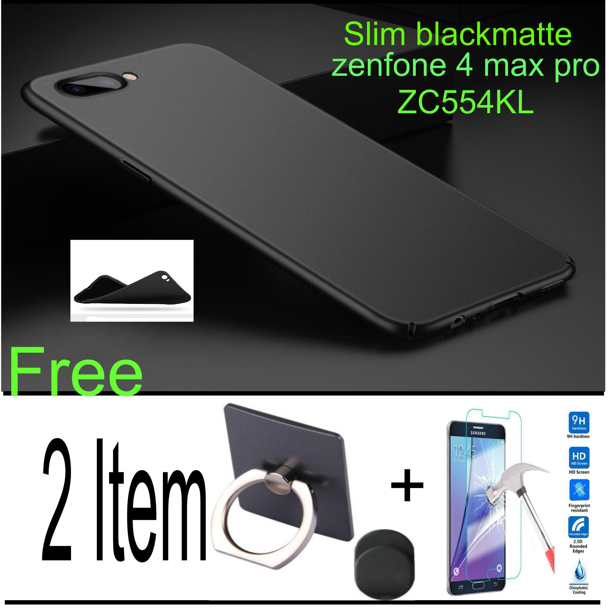 Softcase Blackmatte Case For Asus zenfone 4 max  pro ZC554KL Free Ring Universal+ Temperd Glass