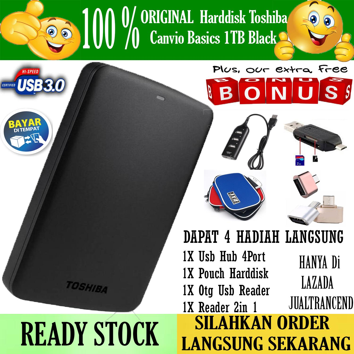 Promo Toshiba Canvio Basic 1TB - HDD / HD / Hardisk Eksternal - Hitam + Gratis Pouch Hdd + Otg Mini Reader + Usb Hub 4 Port + Reader 2in 1