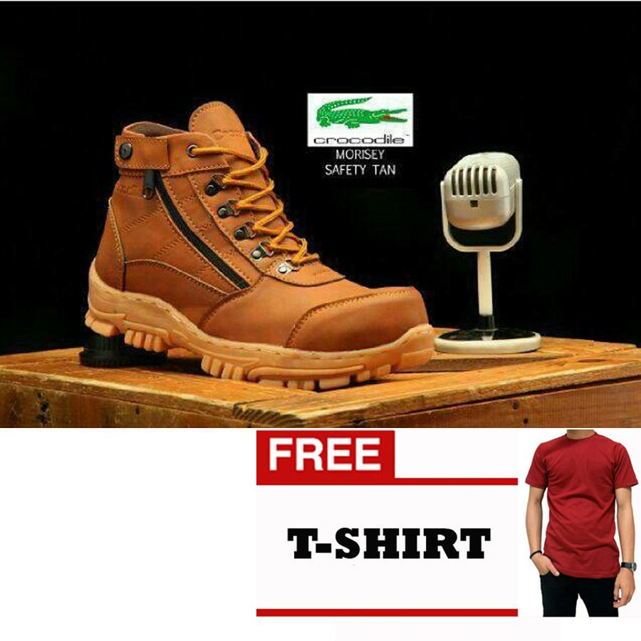 FREE KAOS Sepatu Boots Safety Gunung Hikking tracking Sepatu bengkel Crocodile murah