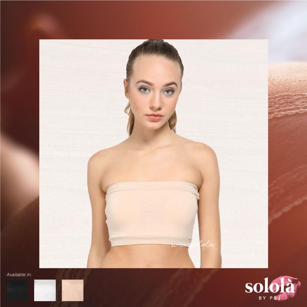 Solola- Strapless Bra (Kemben Bra) - Hitam/Putih/Cream Free Size